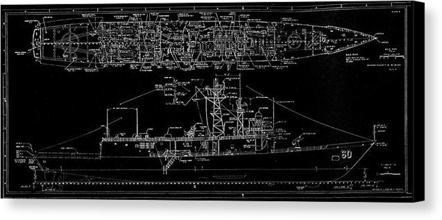 U.s. Navy Frigate Uss Rodney M. Davis Schematic, 1987 - Canvas Print from Wallasso - The Wall Art Superstore