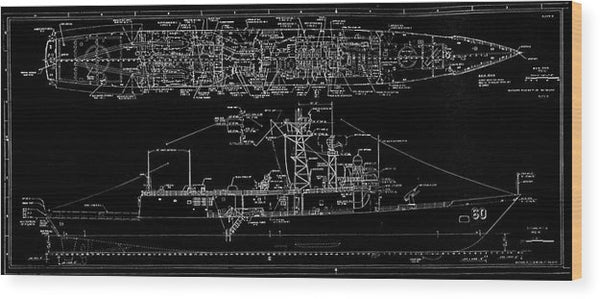 U.s. Navy Frigate Uss Rodney M. Davis Schematic, 1987 - Wood Print from Wallasso - The Wall Art Superstore