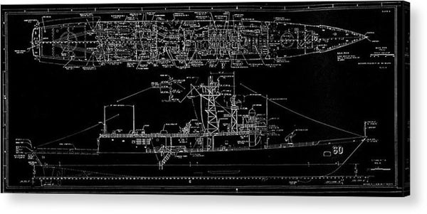 U.s. Navy Frigate Uss Rodney M. Davis Schematic, 1987 - Acrylic Print from Wallasso - The Wall Art Superstore