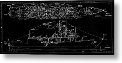 U.s. Navy Frigate Uss Rodney M. Davis Schematic, 1987 - Metal Print from Wallasso - The Wall Art Superstore