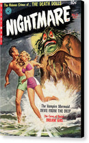 Vampire Mermaid Sea Monster, Vintage Comic Book - Canvas Print from Wallasso - The Wall Art Superstore