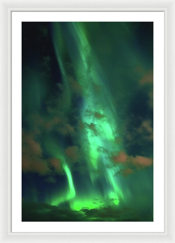 Vibrant Green Aurora Borealis - Framed Print from Wallasso - The Wall Art Superstore