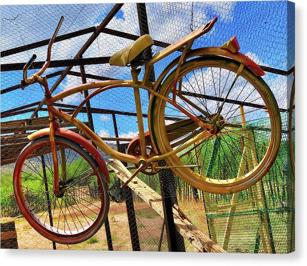 Vibrant Hanging Bicycle - Canvas Print from Wallasso - The Wall Art Superstore