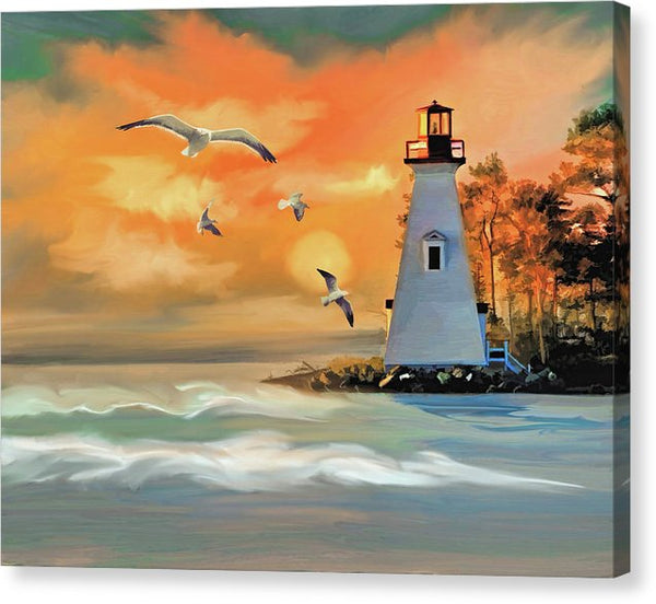 Vibrant Lighthouse Painting - Canvas Print from Wallasso - The Wall Art Superstore