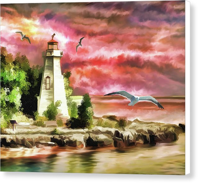 Vibrant Lighthouse Sunset Painting - Canvas Print from Wallasso - The Wall Art Superstore
