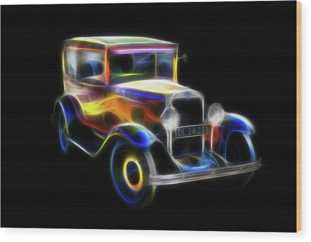Vibrant Neon Antique Chevrolet Car - Wood Print from Wallasso - The Wall Art Superstore