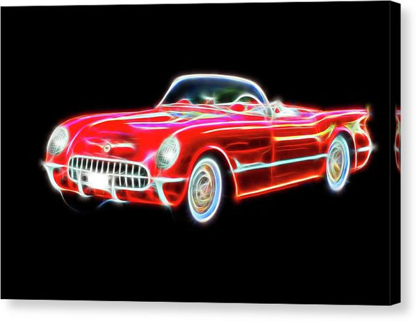 Vibrant Neon Red Chevrolet Corvette - Canvas Print from Wallasso - The Wall Art Superstore