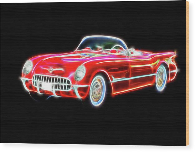 Vibrant Neon Red Chevrolet Corvette - Wood Print from Wallasso - The Wall Art Superstore