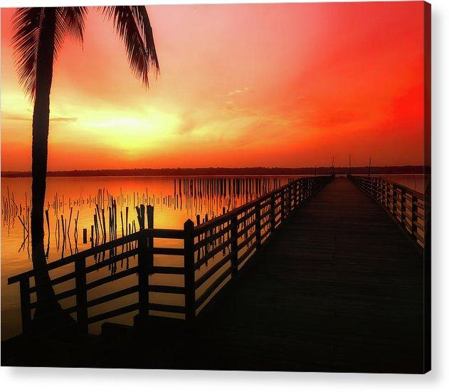 Vibrant Orange Sunrise With Boardwalk - Acrylic Print from Wallasso - The Wall Art Superstore
