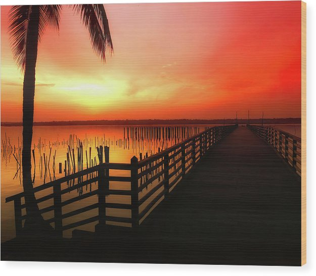Vibrant Orange Sunrise With Boardwalk - Wood Print from Wallasso - The Wall Art Superstore