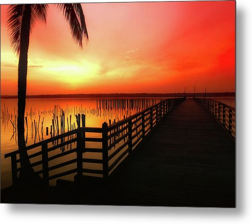 Vibrant Orange Sunrise With Boardwalk - Metal Print from Wallasso - The Wall Art Superstore