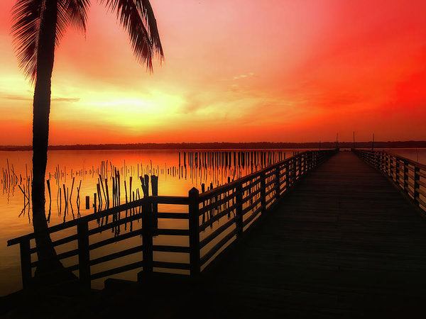 Vibrant Orange Sunrise With Boardwalk - Art Print from Wallasso - The Wall Art Superstore