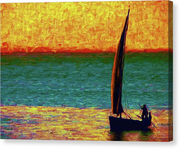 Vibrant Stylized Painting of Sailboat At Sunset - Canvas Print from Wallasso - The Wall Art Superstore