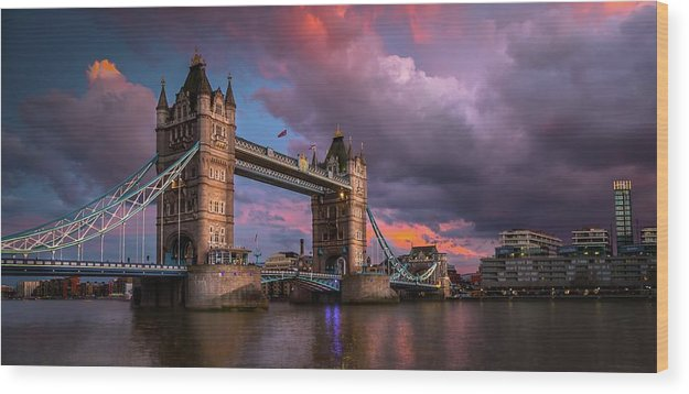 Vibrant Tower Bridge Panoramic - Wood Print from Wallasso - The Wall Art Superstore