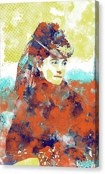 Victorian Woman In Hat Watercolor Painting - Canvas Print from Wallasso - The Wall Art Superstore