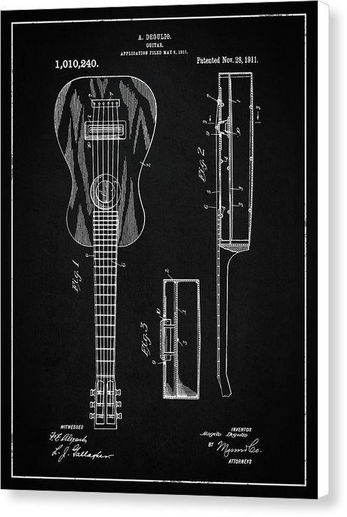 Vintage Acoustic Guitar Patent, 1911 - Canvas Print from Wallasso - The Wall Art Superstore