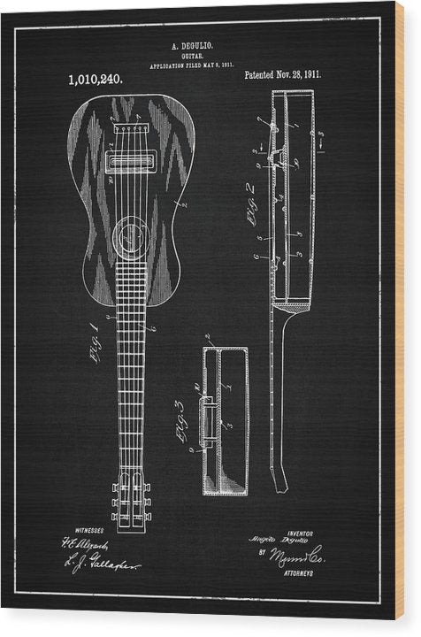 Vintage Acoustic Guitar Patent, 1911 - Wood Print from Wallasso - The Wall Art Superstore