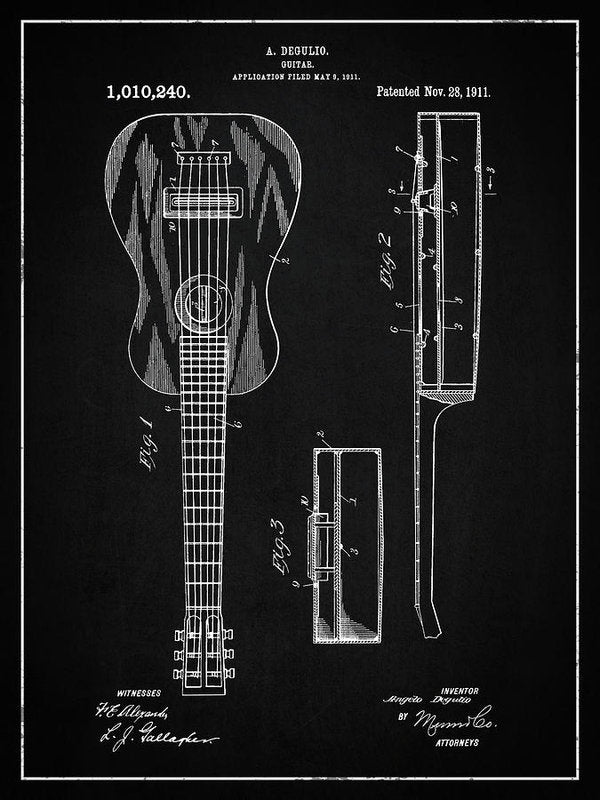 Vintage Acoustic Guitar Patent, 1911 - Art Print from Wallasso - The Wall Art Superstore