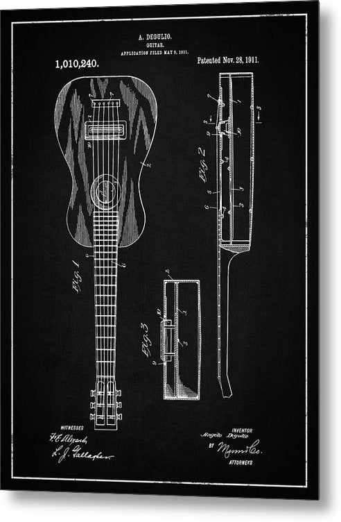 Vintage Acoustic Guitar Patent, 1911 - Metal Print from Wallasso - The Wall Art Superstore