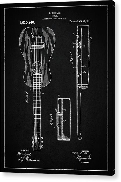Vintage Acoustic Guitar Patent, 1911 - Acrylic Print from Wallasso - The Wall Art Superstore