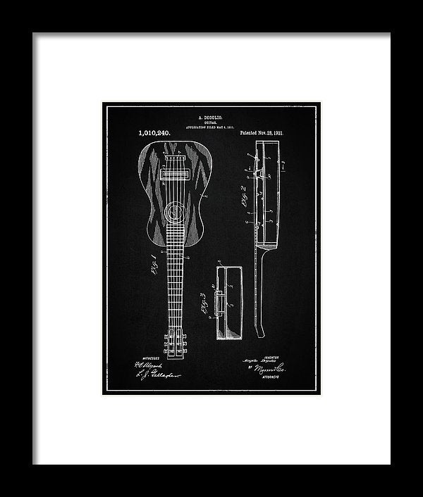 Vintage Acoustic Guitar Patent, 1911 - Framed Print from Wallasso - The Wall Art Superstore