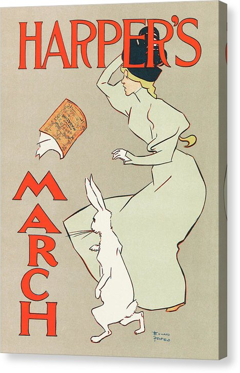 Vintage Advertisement For Harpers Monthly Magazine, 1895 - Canvas Print from Wallasso - The Wall Art Superstore