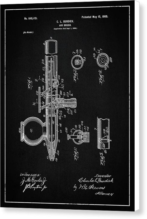 Vintage Air Brush Patent, 1900 - Canvas Print from Wallasso - The Wall Art Superstore