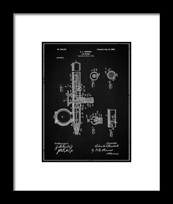 Vintage Air Brush Patent, 1900 - Framed Print from Wallasso - The Wall Art Superstore