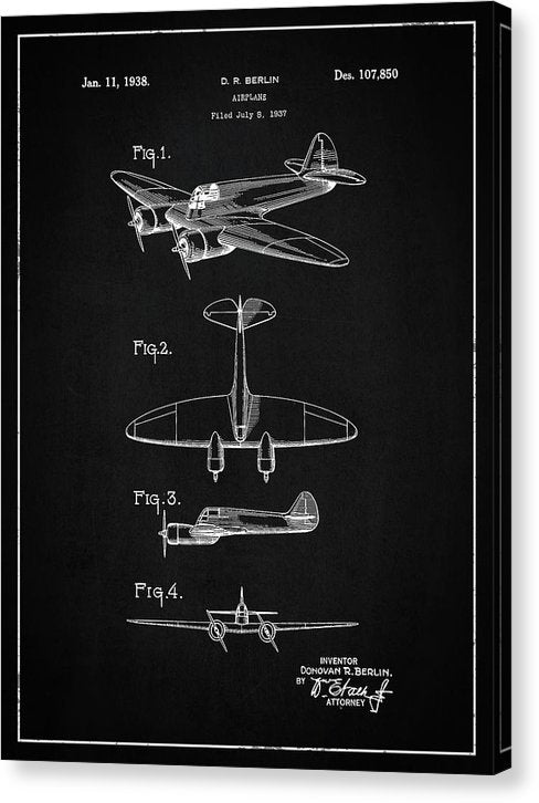 Vintage Airplane Patent, 1938 - Canvas Print from Wallasso - The Wall Art Superstore
