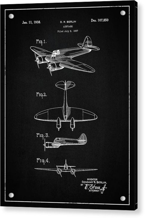 Vintage Airplane Patent, 1938 - Acrylic Print from Wallasso - The Wall Art Superstore