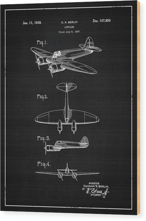 Vintage Airplane Patent, 1938 - Wood Print from Wallasso - The Wall Art Superstore