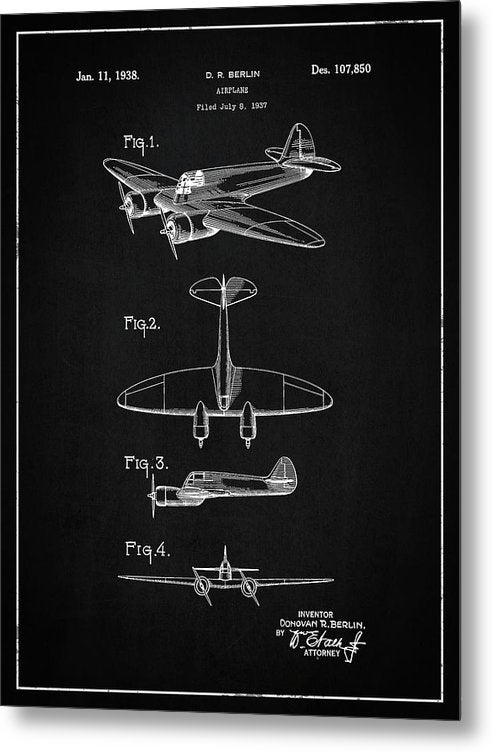 Vintage Airplane Patent, 1938 - Metal Print from Wallasso - The Wall Art Superstore