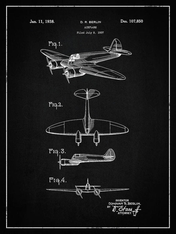 Vintage Airplane Patent, 1938 - Art Print from Wallasso - The Wall Art Superstore