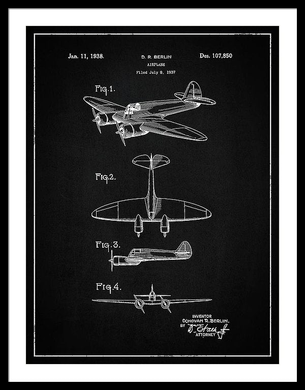 Vintage Airplane Patent, 1938 - Framed Print from Wallasso - The Wall Art Superstore