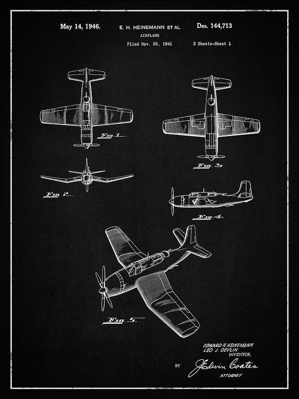 Vintage Airplane Patent, 1946 - Art Print from Wallasso - The Wall Art Superstore
