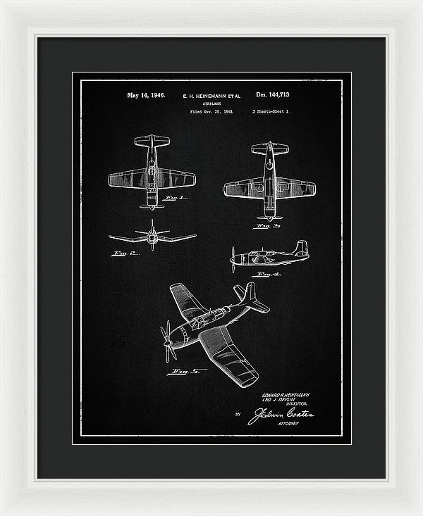 Vintage Airplane Patent, 1946 - Framed Print from Wallasso - The Wall Art Superstore