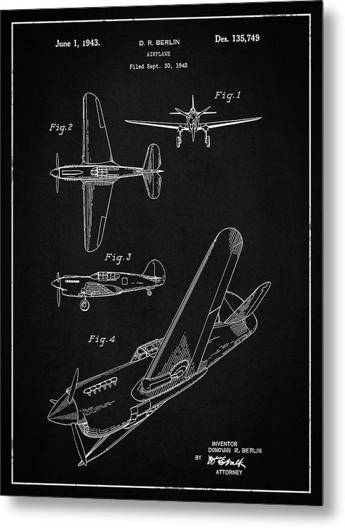 Vintage Airplane Patent,1943 - Metal Print from Wallasso - The Wall Art Superstore