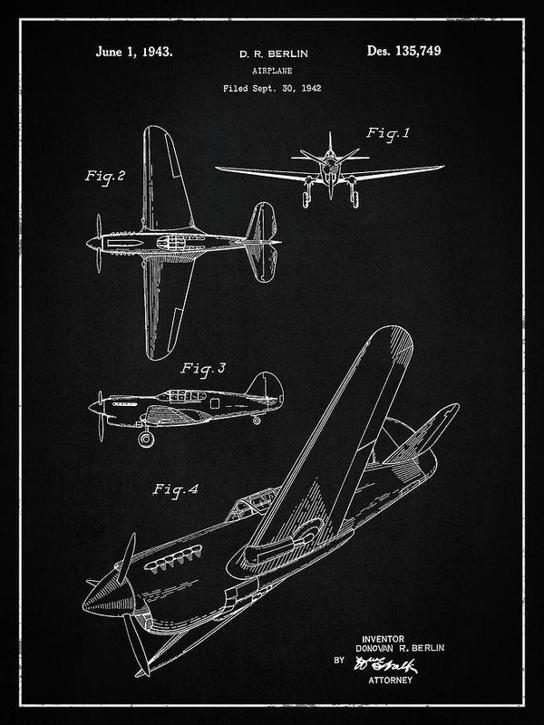 Vintage Airplane Patent,1943 - Art Print from Wallasso - The Wall Art Superstore