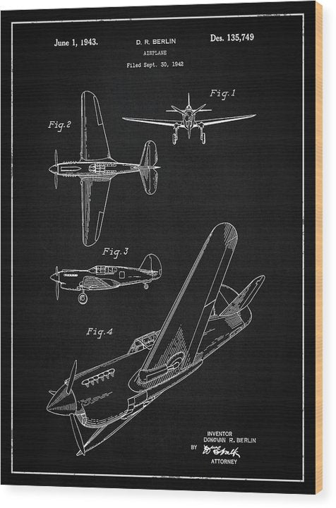Vintage Airplane Patent,1943 - Wood Print from Wallasso - The Wall Art Superstore