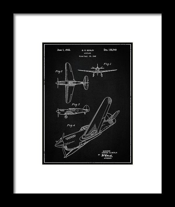 Vintage Airplane Patent,1943 - Framed Print from Wallasso - The Wall Art Superstore