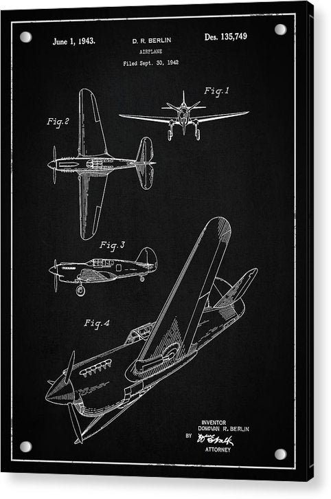 Vintage Airplane Patent,1943 - Acrylic Print from Wallasso - The Wall Art Superstore