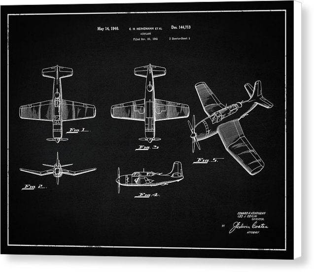 Vintage Airplane Patent,1946, Landscape - Canvas Print from Wallasso - The Wall Art Superstore