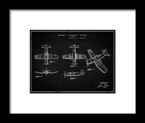 Vintage Airplane Patent,1946, Landscape - Framed Print from Wallasso - The Wall Art Superstore