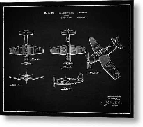 Vintage Airplane Patent,1946, Landscape - Metal Print from Wallasso - The Wall Art Superstore