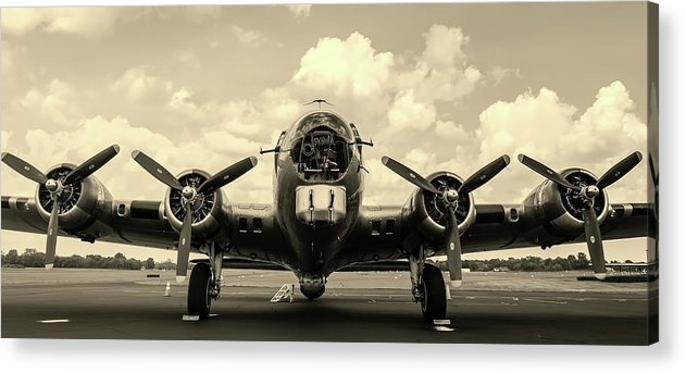 Vintage Airplane With Four Propellers - Acrylic Print from Wallasso - The Wall Art Superstore