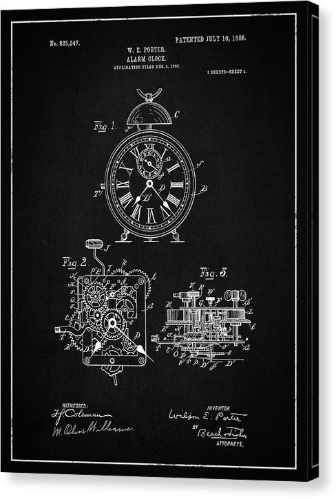 Vintage Alarm Clock Patent, 1906 - Canvas Print from Wallasso - The Wall Art Superstore