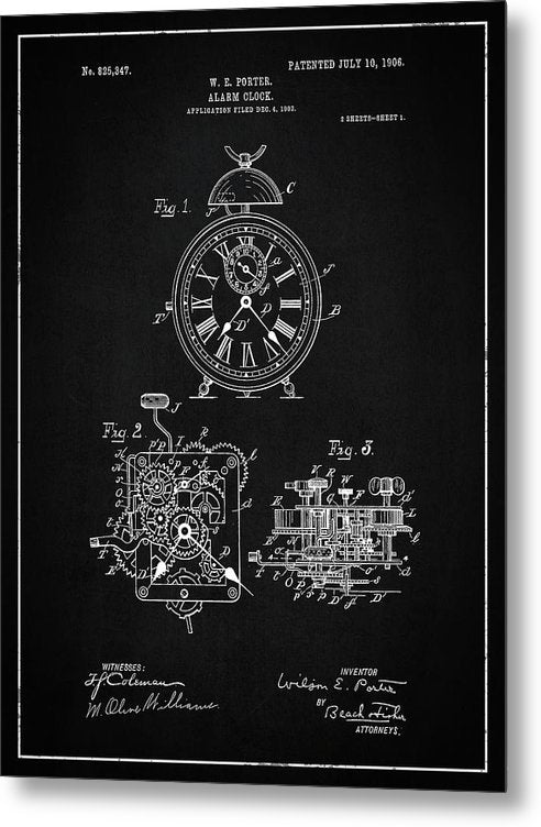 Vintage Alarm Clock Patent, 1906 - Metal Print from Wallasso - The Wall Art Superstore