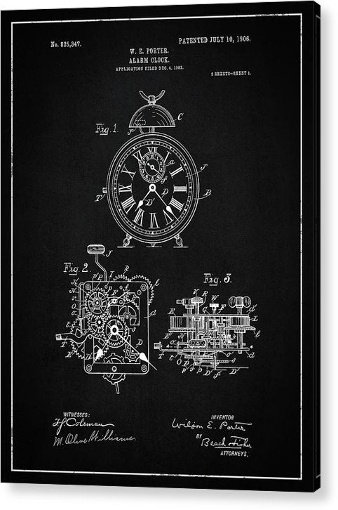 Vintage Alarm Clock Patent, 1906 - Acrylic Print from Wallasso - The Wall Art Superstore