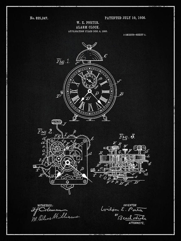 Vintage Alarm Clock Patent, 1906 - Art Print from Wallasso - The Wall Art Superstore