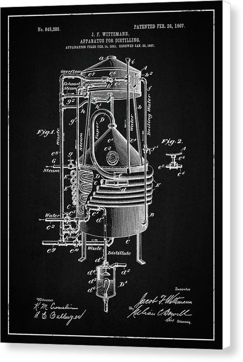 Vintage Alcohol Still Patent, 1907 - Canvas Print from Wallasso - The Wall Art Superstore